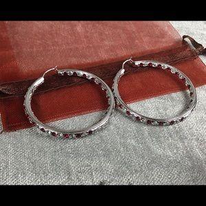 💎CZ/Ruby Crystal Inside Out Hoop Earrings
